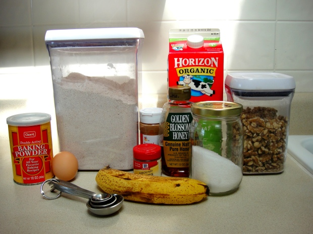 Banana walnut pancake supplies