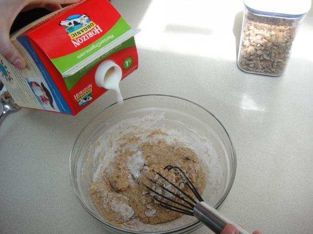 Correcting a dry batter by adding a little more milk