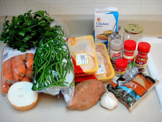 Ingredients for chicken and rice dish