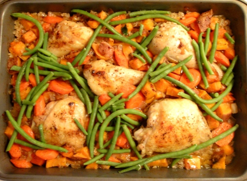 Roasted chicken, rice and veggies
