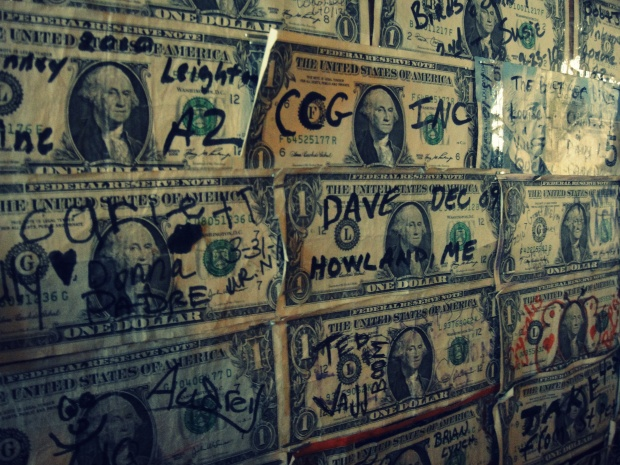 Dollar Wall at restaurant on Apache Trail