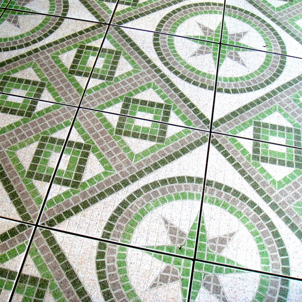 Green and purple tile flooring