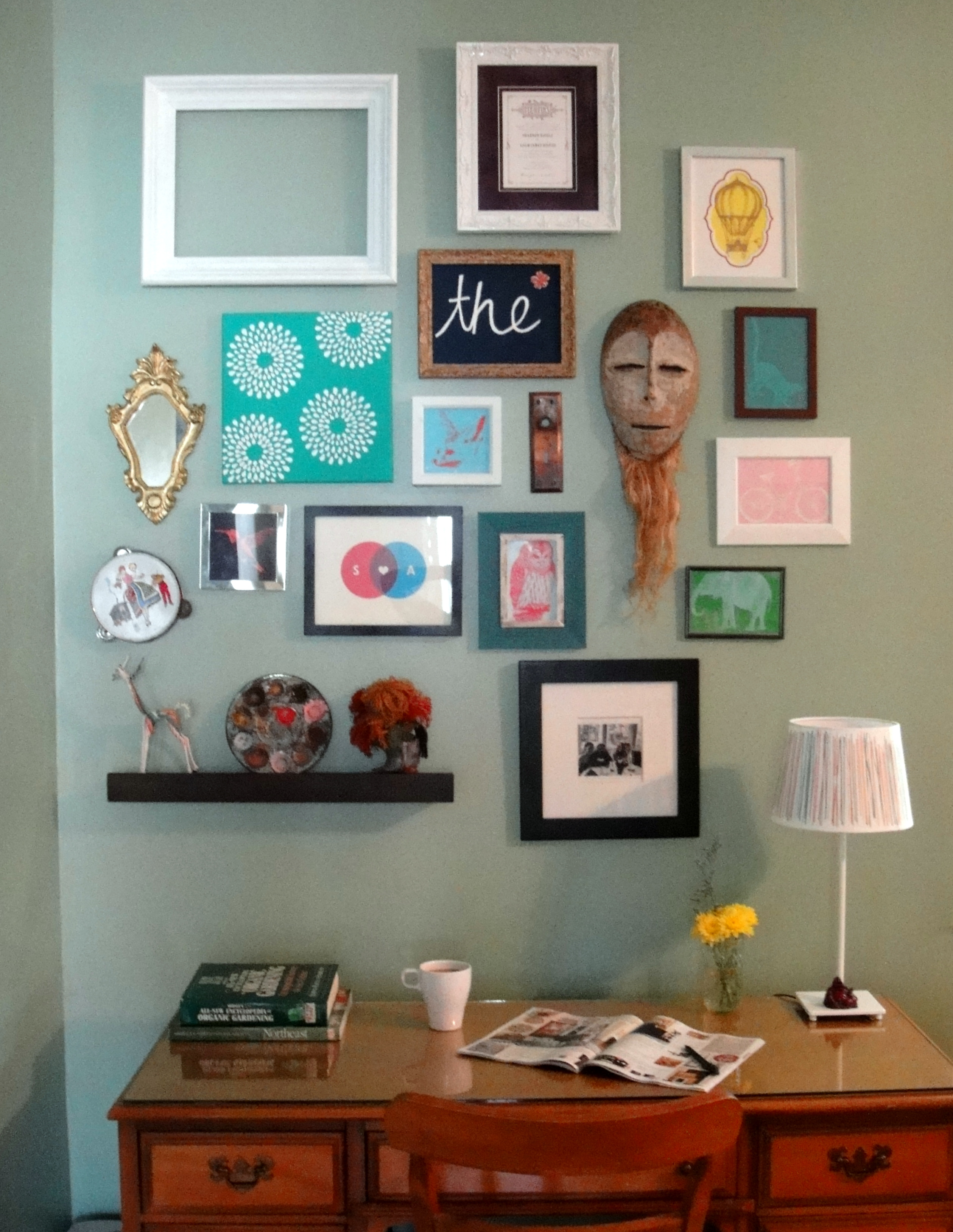 Framed art gallery wall so pretty is as pretty does for Collage mural ideas