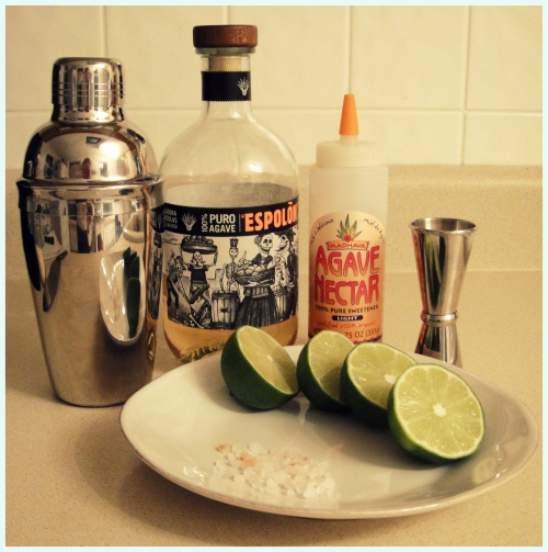 Staple ingredients for a margarita