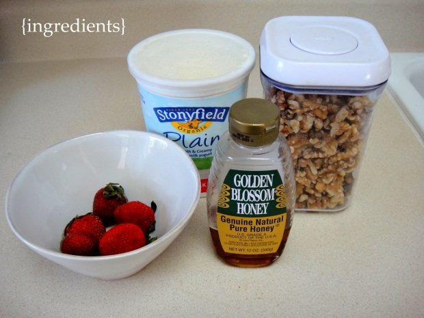 Ingredients - Yogurt, honey, walnuts and strawberries