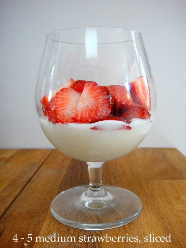 Yogurt and strawberries in a glass