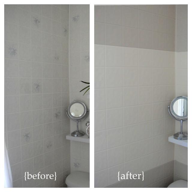 bathroom mini renovation part 4 painting tile board so pretty rh soprettyisasprettydoes com Painting Bathroom Tile Before and After Paint Bathroom Tile For Dummies