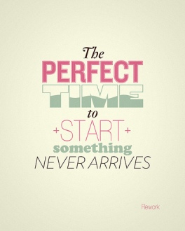 the perfect time to start something never arrives.