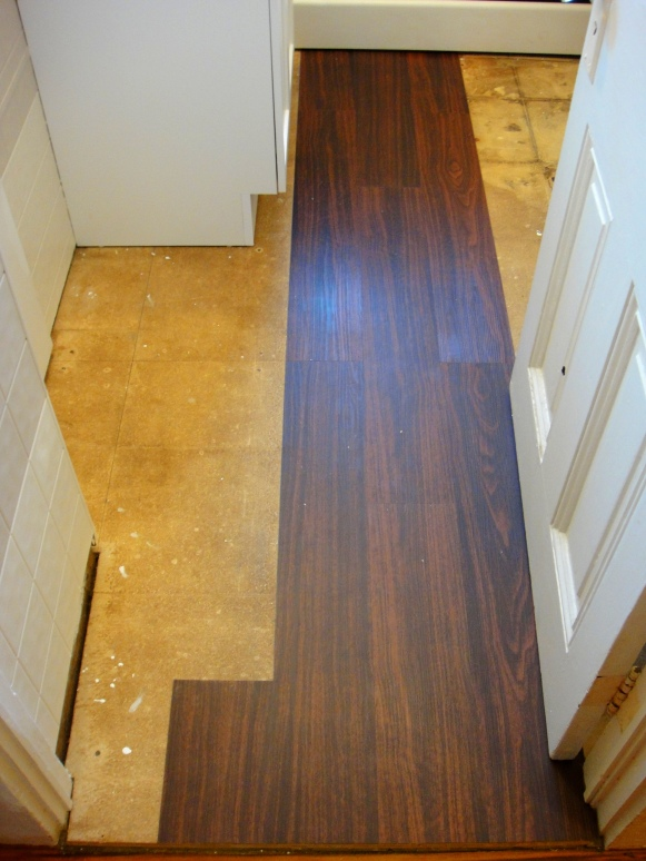 First section of vinyl flooring