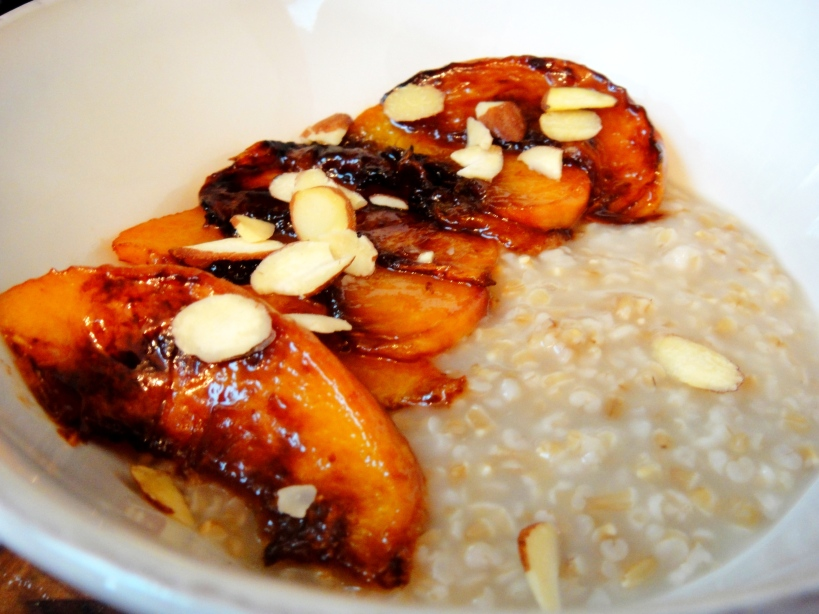 Peaches and steel cut oats