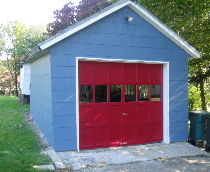 painted detached garage