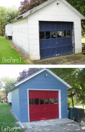 Painted single detached garage