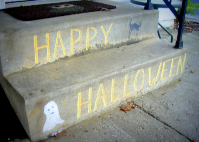 Halloween Steps with sidewalk chalk