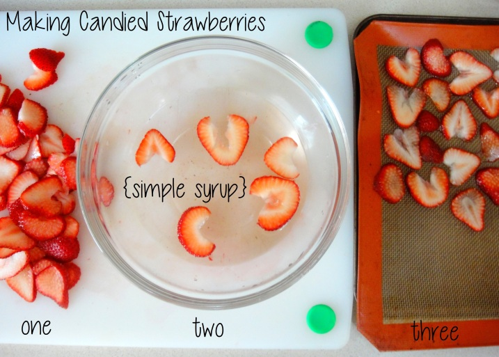 Making candied strawberry slices