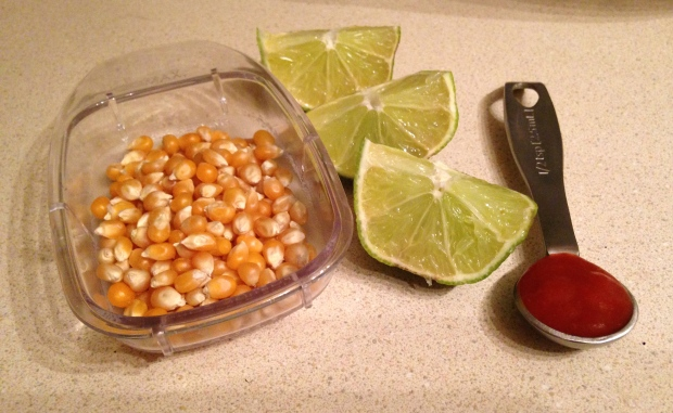 popcorn kernels, lime and sriracha