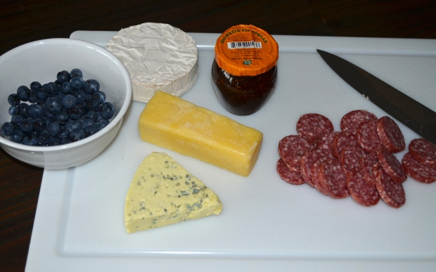 blueberries, fig spread,cheese, salami
