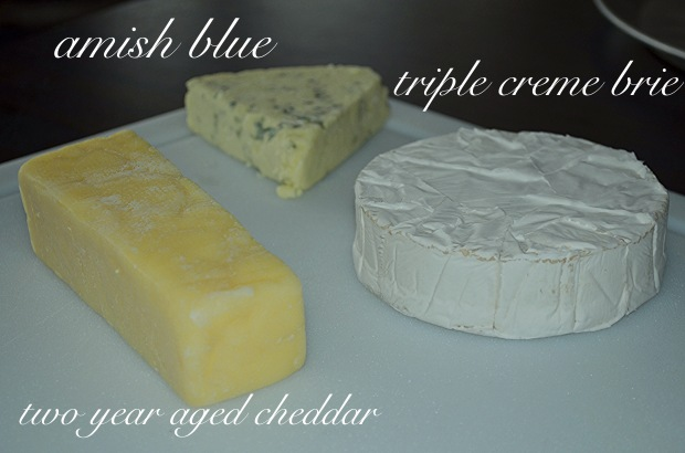 blue, brie and cheddar cheese