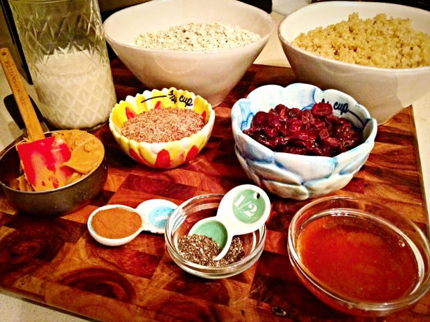 Ingredients for breakfast bars