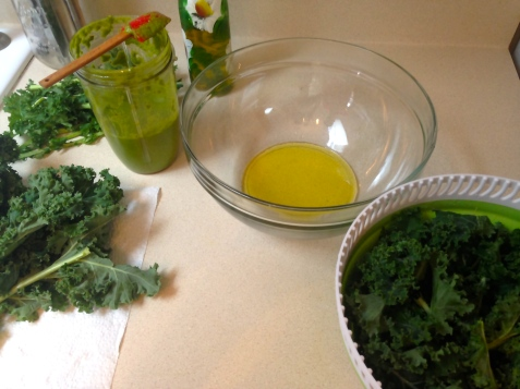 olive oil and kale